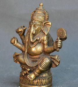 Chinois ancien Bronze Bouddhisme Tibet dieu éléphant à quatre bras Statue de Mammon Bouddha