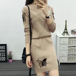 Maglieria donna Tute da donna 2017 Autunno Nuova farfalla modello manica intera maglia maglione pullover Tops + gonna corta 2 pezzi set