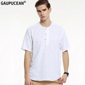 Echtes Gaupucean Man T-Shirt Baumwolle O-Ansatz Gute Qualität Solide Weiß Blau Sommer Cool Kurzarm Rundhals Männer Leinen T-Shirt