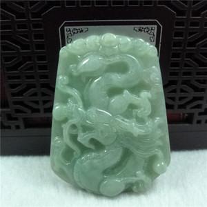 Pendentif de pendentif dragon de jadéite du Myanmar naturel marque de zodiac dragon pendentif jade de transbordement pour hommes et femmes