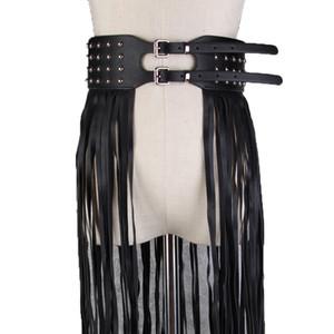 Punk Riverts Double Pin Buackle Belt Bohemian Pu Leather Fringe Tassel Corset Belt Faux Skirt Belts For Woman High Waist