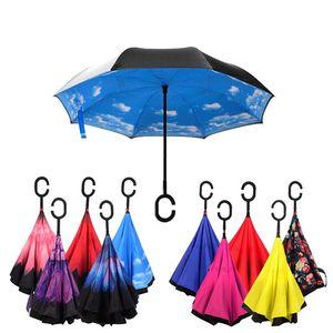 Coupe-vent inversant double couche se pliant inversé Chuva parapluie auto-support pluie protection C-crochet mains pour voiture