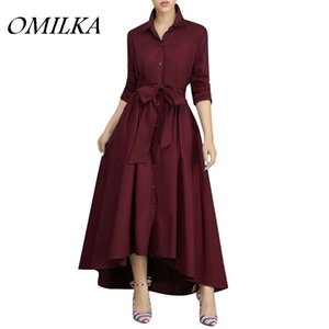 OMILKA Avant Bouton Chemise Bandage Robe 2018 Automne Automne Woemn Manches Longues Turn Down Collier Club Party Runway Grande Swing Robe Longue
