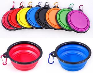 접을 수있는 개 그릇, 접이식 확장 컵 접시 애완 동물 고양이 먹이 먹이 휴대용 여행 그릇 무료 카라비너