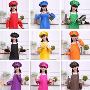 9 nouvelles couleurs pour enfants Tabliers de cuisine Peinture Art de cuisson Enfants Cuisine Tabliers Enfants Bavoir manches T3I0357