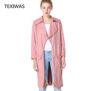 TEXIWAS Frühling Herbst Trenchcoat mit Pocket Plus Size Trench Frauen lange Outwear Wildleder Windbreaker Female Slim Cardigan