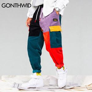 GONTHWID Corduroy Color Block Patchwork Bolsillos Cargo Harem Pantalones 2018 Hombres Mujeres Harajuku Hip Hip Cotton Jogger Pants Pantalones