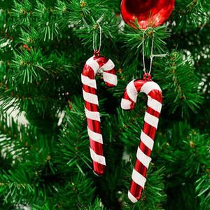 Feliz Natal Candy Cane Ornaments Festival Festa Xmas Tree Hanging Decoração de Ano Novo Decoração de Casa Suprimentos 6 Pcs