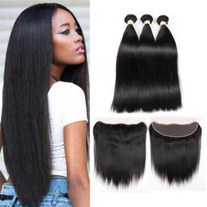 Brazilian Virgin Hair Straight 3 Bundles with Lace Frontal Closure Unprocessed Brazilian Human Hair Bundles with Frontal