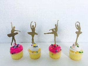 글 리터 발레리나 컵케익 Toppers 첫 번째 생일 웨딩 브라 베이비 샤워 약혼 파티 독신 음식 픽크