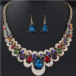 6 Cores Gota de Água De Cristal De Gemstone Declaração Colar Brincos Conjuntos de Jóias de Ouro Cadeia Gargantilhas para Mulheres Moda Presente