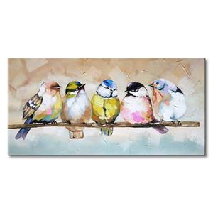 Ручной птица семья картина маслом животных холст стены искусства современного декора искусства ручная роспись рукоделие масляной живописи