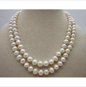 Classic-9-10mm-South-sea-Natural-white-white-pearl-necklace-17-18 pulgadas-amarillo-cierre Classic-9-10mm-South-sea-Natural-white-white-pearl-necklace-17-18-