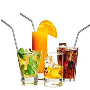 200pcs Stainless Steel Drinking Straws 304 Eco Friendly Free Collocation Set Reusable Straight Bent Metal Straw for Bar Party