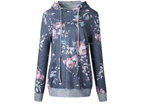 Dedo de las mujeres Hoodie Estampado de flores Abrigos Hasta Manga Larga Pullover Blusas de Invierno Sudaderas Con Capucha Outwear M142