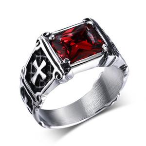 Mprainbow Anillos para hombre de la vendimia de acero inoxidable de cristal grande de la garra del dragón cruz anillo Band Gothic Biker Knight Punk Jewelry 2017
