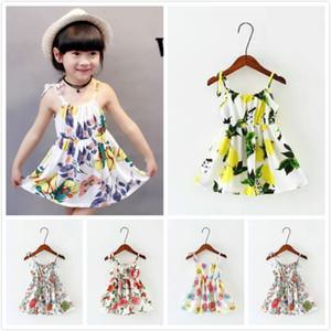 40 Diseños Niñas Floral Enrejado de Limón Graffiti Vestido de Algodón Sin Espalda Sling Niñas Vestidos de Playa Niñas Halter Niños Vestido Vintage