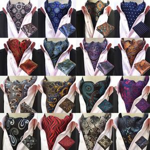 남자 Paisley 실크 넥타이 Ascot 넥타이 손수건 포켓 스퀘어 세트 로트 BWTHZ0238