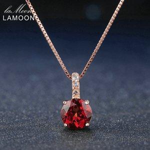 Lamoon 7mm 1.5ct 100% natürliche Runde rote Granat 925 Sterling Silber Kette Anhänger Halskette Frauen Schmuck S925 LMNI040 Y1892805