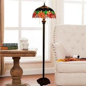 Großhandel Glasmalerei Abajur Stehlampen Mosaik Vintage Study Room Lampe American Pastoral Schlafzimmer Nachttischlampe Stehlampen