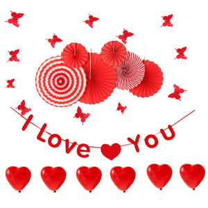 Red Valentine'sDay Decoração Do Partido Set Coração Balão / EU TE AMO Banner / Papel Fã / Borboletas Adesivos De Parede Aniversário De Casamento