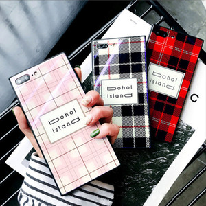 Luxury Blue Light Square Grid Tempered Glass Phone Cover for iPhone 8 Plus Case Shockproof Cover for iPhone 6 6S 7 X Soft Case