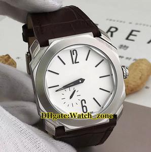 New Octo Finissimo 103035 quadrante bianco automatico Mens Watch indipendente seconda mano Silver Case cinturino in pelle orologi da uomo di alta qualità