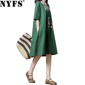 NYFS 2018 New Summer dress Vintage Cotton Linen Women Dress Abiti ricamati confortevoli abiti lunghi vestidos ricamati