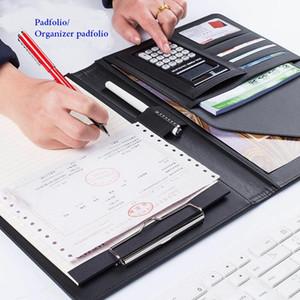 PU-Leder Business Padfolio Multifunktions mit Geld / Rechnung Fällen Notebook mit A4 Zwischenablage Notizblock Office Organizer Folios