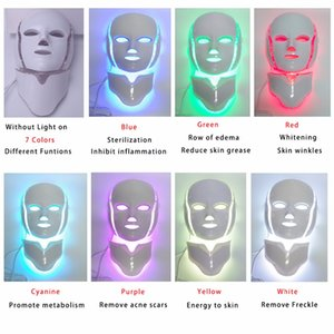 TM-LM001 Drop Ship USA USPS free shipment 7 Color Photon LED Facial Neck beauty Mask Microcurrent Massager Skin Rejuvenation Anti-Aging