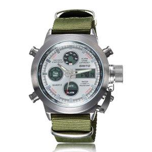 Çok fonksiyonlu dağcılık spor saatler otoriter su geçirmez erkek formu kuvars naylon askeri izle Taktik LED kol saati