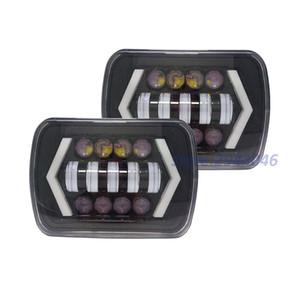 "1 Pair 5x7"" 7x6 Inch Angel Eyes DRL H4 LED Square Headlights For Jeep Wrangler YJ Cherokee XJ Comanche MJ Led Rectangle Headlamp"