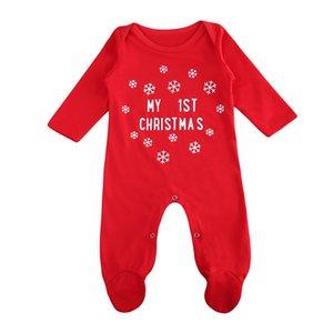 pudcoco noël bébé garçon filles barboteuse manches longues bébé nouveau-né lettre barboteuse premier bébé vêtements de noël rouge Y18102907