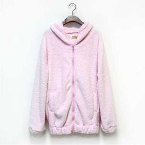 Heißer Verkauf Frauen Hoodies Zipper Mädchen Winter Lose Fluffy Bär Ohr Hoodie Kapuzenjacke Warme Oberbekleidung Mantel Niedlichen Sweatshirt Hoody