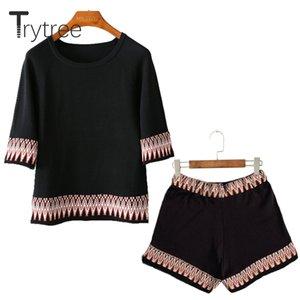 Trytree Women Summer top Conjunto de dos piezas de algodón Tops casuales + shorts Top Set de traje femenino de bordado Disfraces de mujer Set de 2 piezas
