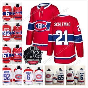 Montreal Canadiens # 8 Jordie Benn 21 David Schlemko 22 Karl Alzner Red White 100.o Jersey clásico de hockey