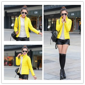 Yaxez 2018Korean New Stand Collar mujer mujer abrigo corto de moda de gran tamaño delgado ligero chaqueta de algodón Harajuku Chaqueta caliente