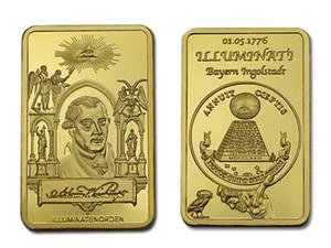Free Shipping 5pcs lot ,Masonic Freemason Freemasonry Symbol 24K Gold Plated Bar Commemorative Coin Token Rare 1 Oz MASONIC GOLD