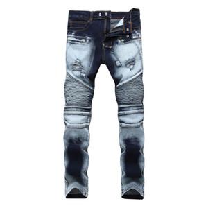 2018 new men's deep blue high street stretch jeans in slim waist straight tube zipper stitching holes sanding white trousers