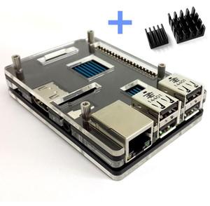 Raspberry Pi 3 Modell B Plus Schwarz Gehäuseabdeckung Shell Enclosure Box Transparent zweifarbig mit 2 Stück Kupfer-Kühlkörpern