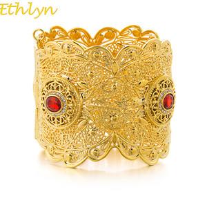 Ethlyn etíope Big Bangle Mulheres cor do ouro Dubai Estilo Jóias Africano casamento pulseiras Zircon tensão Configuração B67