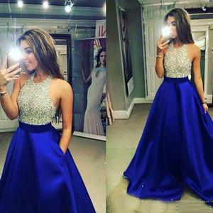 로얄 블루 볼 가운 댄스 파티 드레스 섹시한 할아버지 목 댄스 파티 드레스 반짝 구슬 탑 파티 드레스와 이브닝 드레스 이브닝 드레스