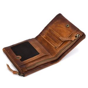 2018 New Standard Men's Wallet Cowhide Retro Zipper Wallet Large-capacity Leather Vintage Design Card Bag Leisure Changes Bag Credit Card