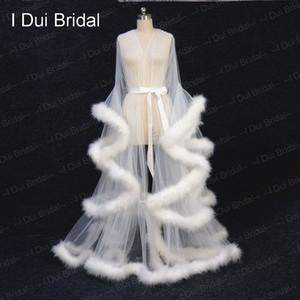 Ivory Feather nupcial Robe Tulle ilusão de casamento Long Scarf Custom Made Feather aniversário Robe Intimate Apparel