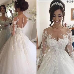 Wedding palla abito gioiello illusione abito da sposa manica lunga con perline una linea Pearls Appliques Abito da sposa