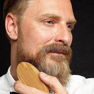 Pratico set di peli di cinghiale barba baffi barba militare duro rotondo manico in legno antistatico pesca pettine strumento di parrucchiere per gli uomini