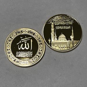 100 шт. саудовский I арабский рок фондовый купол религиозная тема значок 24 к реального позолоченные 40 мм Сувенирная монета