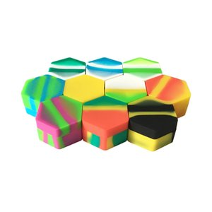 Wholesale Silicone Container Wax Dab Non-stick Mixed Colors Dab Oil Hexagon Large 26ml Non-stick Silicone Jar 50 Pcs lot