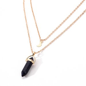 Brand New Women fashion gold necklace Bullet Pendant Necklace, natural stone multilayered Pendant Necklace 12pcs lot drop shipping