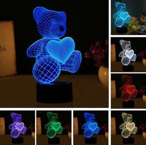 Nueva historieta amor corazón oso forma lámpara de mesa USB LED 7 colores que cambian batería lámpara de escritorio lámpara 3D novedad luz de la noche niño juguetes de regalo de Navidad